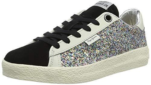 Pepe Jeans London Mädchen Portobello Stars Sneaker, Schwarz (Black 999), 34 EU