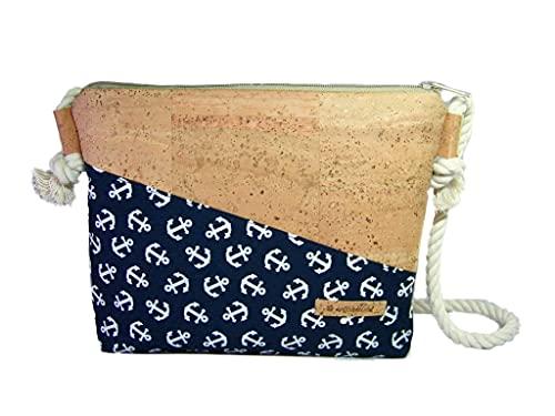 Handmade Korktasche mit Anker Stoff Schultertasche Umhängetasche Damen Tasche Handtasche, nachhaltig vegan und fair