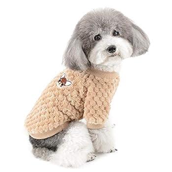 ZUNEA Pull pour Petit Chien/Chat Polaire Manteaux d'hiver Chaud Pull-Overs Animal de Compagnie Jumper Chiot Veste Chemise Sweat Vetement Chihuahua Yorkshire Marron S