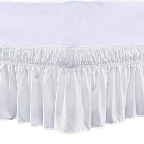 Cottingon Wrap Around Elastic Bed Skirt,Three Sides Fabric, Solid, Easy On/Easy Off Dust Ruffled Bed Skirts,Dust Ruffle Wrap Around Style,Ruffled Wrap Bed Skirts - Ivory - Twin/Twin-XL_16' Drop