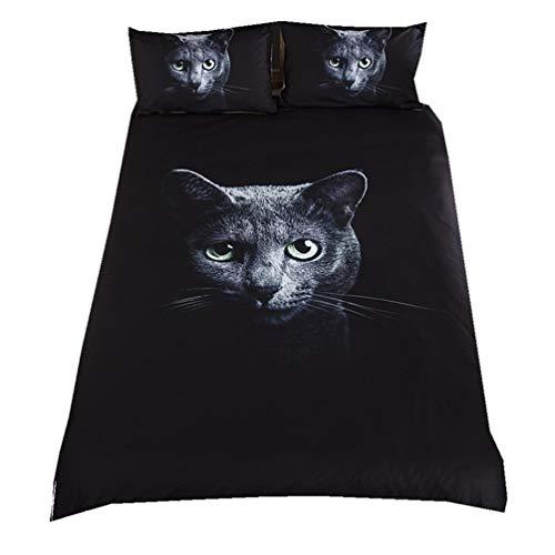 EA-SDN 3D - Juego de funda nórdica para cama de animales, funda nórdica para búhos y gatos, 100% microfibra de poliéster, color negro, con funda de almohada (gato negro, 200 x 200 cm)