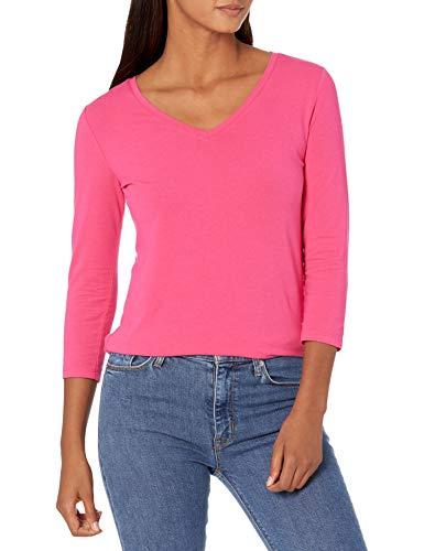 Amazon Essentials 3/4 Sleeve V-Neck T-Shirt Camiseta, Rosa Brillante, L