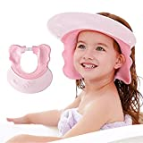 Baby Shower Cap Visor with Ear Protection for Bathing Washing Hair, Maydolly Adjustable Safe Waterproof Shampoo Shower Cap for Toddler, Kids, Girls, Boys, Children, Pink