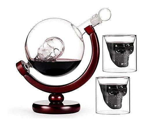 Decantador de vinos, decantador de whisky Decantador de cristal Conjunto con 2 gafas de tiro del cráneo, hermosa base de madera y copa de la cabeza del cráneo, giratorio de 360 grados, para escocés