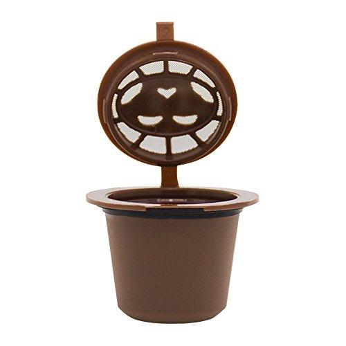 Wiederbefüllbare Kaffeekapsel kompatibel mit Nespresso Machines Filter zum Nachfüllen Refill-Kapsel für umweltbewusste Kaffee-Liebhaber Maschinen Kapsel Kaffeeduck Kaffeekapselfüllung (Braun)