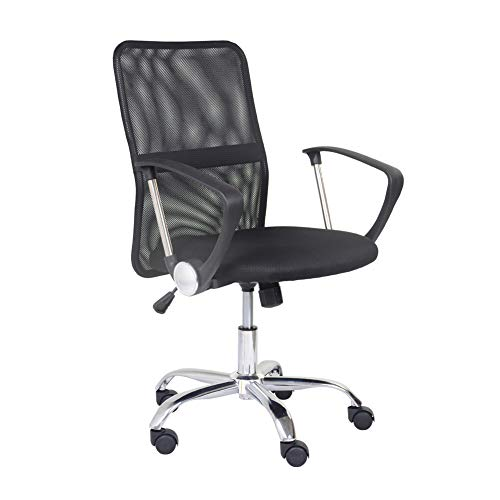 GOLDFAN Mesh Arms Chair Swivel Desk Chair for Home Ergonomic Leather Office Chair Height Adjustable with Breathable Lumbar Support, Black