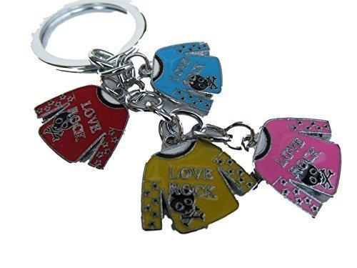 Mignon 4 pièces multicolore rock n roll Haut émail métal Charme de sac à main porte-clé détaillé idée cadeau - par fat-catz-copie-catz