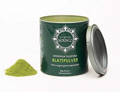 ORIGINAL MORINGO Premium Moringa Oleifera Pulver| 90g | für 30 Tage | 100% handverlesenes Blattpulver