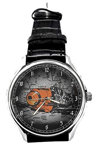 Lichtenstein Pop Art Messerschmitt Bf109Luftwaffe Alemania WW-II Coleccionable reloj de pulsera