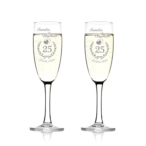 polar-effekt 2er Set Sektgläser Personalisiert mit Gravur - Hochzeitsgeschenke für Brautpaare - Namen und Datum - Geschenkidee zur Hochzeit - Hochzeitsgläser für Paare - Jubiläumskranz