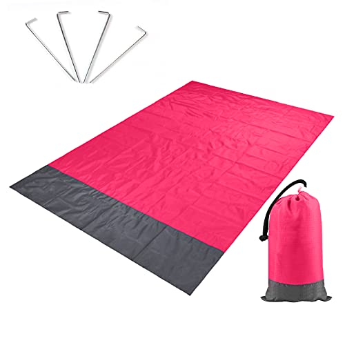 ZOLISCHE Stranddecke wasserdichte Picknickdecke Schnelles Trocknen Strandmatte mit 4 Befestigung Ecken 140 * 100 Picknickdecke für den Strand, Camping, Piknicke und Wanderungen