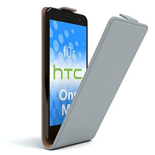 EAZY CASE HTC One (M8) / (M8s) Hülle Flip Cover zum Aufklappen, Handyhülle aufklappbar, Schutzhülle, Flipcover, Flipcase, Flipstyle Case vertikal klappbar, aus Kunstleder, Hellgrau