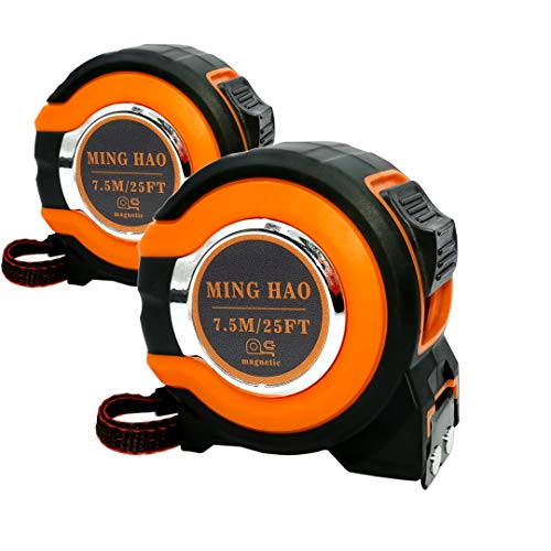 Measuring Tape 25 Foot(2 Pack), Easy To Read Fractions To 1/8th, Magnetic Hook, Shock Absorbent Rubber Case
