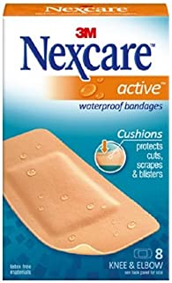 Nexcare Active Extra Cushion Bandages, Knee and Elbow, Breathable, Germproof, 8-Count Packages (Pack of 6)
