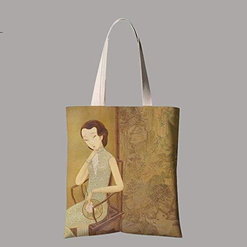 DX Leinwand Einkaufstaschen, Einfache Stuhl Magd Figur Charakter, Student Tasche Tragbare Grüne Einkaufstasche Unisex Täglichen Pendler Tasche Hand Große Kapazität Falten Waschen, kleine (30X35