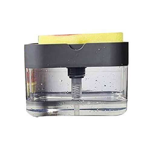 Dispensador de jabón y portaesponjas 2 en 1 – Dispensador de jabón con bomba – Dispensador de jabón con prensa manual y recipiente para esponja, dispensador de líquido para vajilla (gris)