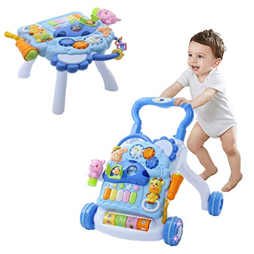 Awssya 3 in 1 Baby Walker Cart and Activity Center Desk Set with Sound & Light, Learning Walker with Fun Table Toys for Baby Toddler Different Ages Play Game - UK in Stock