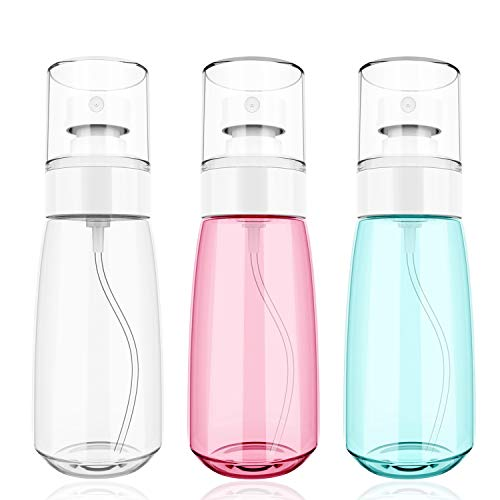 MoKo Sprühflasche, 3 Stück Zerstäuber Durchsichtig Flasche Nachfüllbar Feinen Nebel Parfum Bilden Wasserflaschen, 2.03oz / 60ml PETG Kunststoff Sprühgerät für Toner Parfüm Alkohol - Grün+Rosa+Weiß