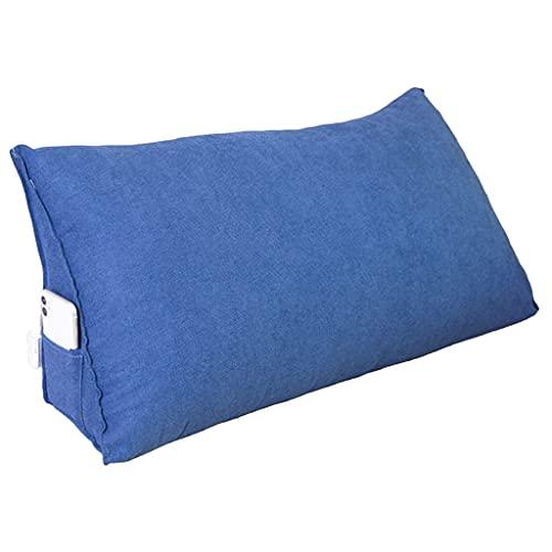 xinke Almohadas De Espalda para Sentarse En La Cama, Almohada De Cuña De Lectura Adulta, Almohada De La Cabecera De Soporte Trasero(Size:70×35×20cm,Color:Azul Oscuro)