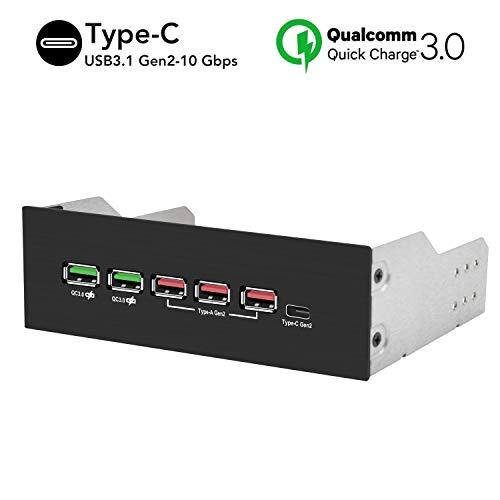 EZDIY-FAB - Hub USB 3.1 Gen2 y puerto tipo C, panel frontal USB Hub con carga rápida QC 3.0