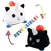 CCHAO 可逆猫ぬいぐるみぬいぐるみ怒っフリップハッピーおもちゃソフトかわいい両面カラフルな動物人形 子供のギフト