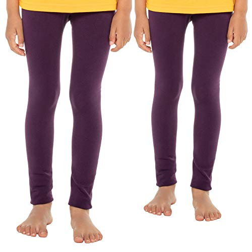 Celodoro Kinder Thermo Leggings (2 Stück) - warme Unterhose lang mit Innenfleece - Brombeere 134-140