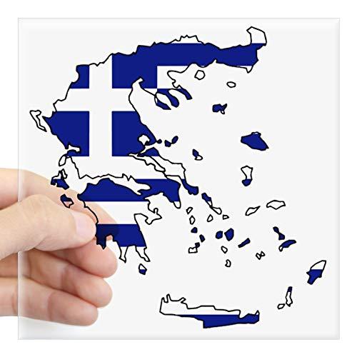 CafePress Auto-Aufkleber, Motiv: griechische Flagge, quadratisch, 7,6 x 7,6 cm (klein) oder 12,7 x 12,7 cm (groß)