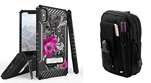 Beyond Cell Tri Shield Case Compatible with Apple iPhone Xs Max - Military Grade Shock Proof Kickstand Cover (Lotus Vine) with Tactical MOLLE Belt Pouch and Atom Cloth for iPhone Xs Max
