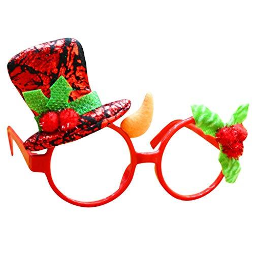 Xniral Brillen Weihnachten Ohne Linse Brille Abschlussball zum Geburtstag Brille lustige Dekoration Rahmen(D)