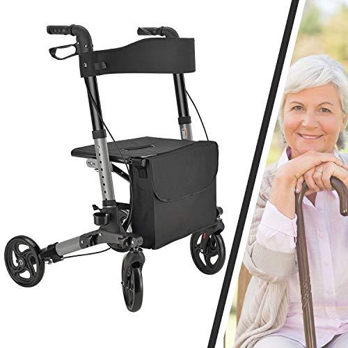 Juskys Aluminium Rollator Vital faltbar & leicht | 6-fach höhenverstellbar | Leichtgewicht Gehhilfe mit Sitz, Bremse & Tasche | 130 kg | schwarz