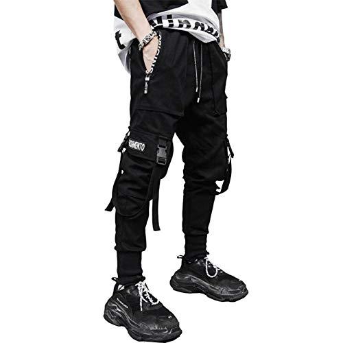 Pantalones tácticos para Hombres Harem Combat Casual Slim Fit Joggers Cintas Pantalones con múltiples Bolsillos Street Hip Hop Dance Cargo Trabajo Niños Pantalones de chándal Negros Streetwear