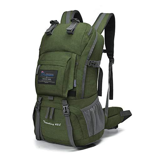 マウンテントップ(Mountaintop) アウトドア バックパック 登山リュック 40L 大容量 リュックサック 登山用バッグ ハイキングバッグ 防水 レインカバー付き (モスグリーン)