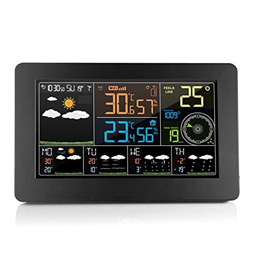 Wi-Fiウェザーステーション、ウェザーステーション、APPコントロール付き、USB充電ポート付き、屋内/屋外の温度と湿度、風速表示