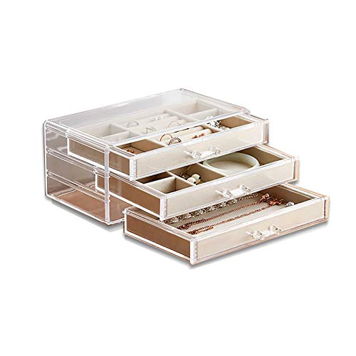 WJLED Transparent Acrylic Jewelry Box, Large-Capacity Jewelry Box, with 3 Drawers, for Earrings, Bracelets, Necklaces And Rings Storage