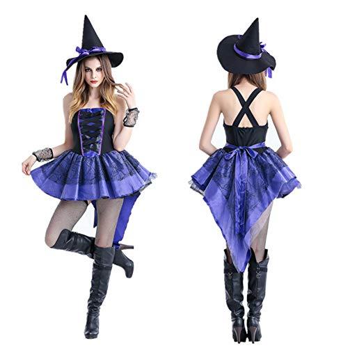 GBYAY Vestido de Bruja de Halloween Carnaval Disfraces de Cosplay para Mujer Adulto Miedo Horror Circo Diablo Fiesta Ropa de Rendimiento