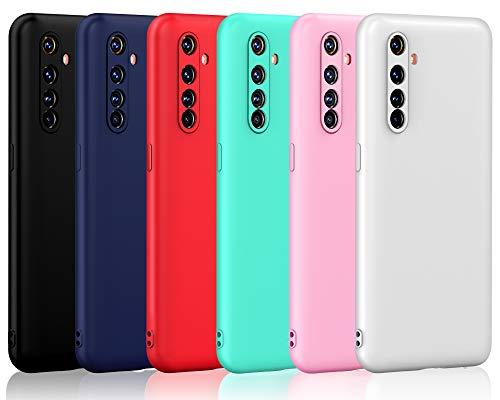 ivoler 6 Stücke Hülle für Oppo Realme X50 Pro 5G, Ultra Dünn Tasche Schutzhülle Weiche TPU Silikon Gel Handyhülle Hülle Cover (Schwarz, Blau, Rot, Grün, Rosa, Weiß)