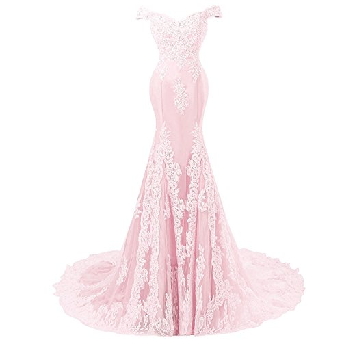 Off Shoulder Mermaid Long Lace Beaded Prom Dress Corset Evening Gowns Light Pink US 10 (Apparel)