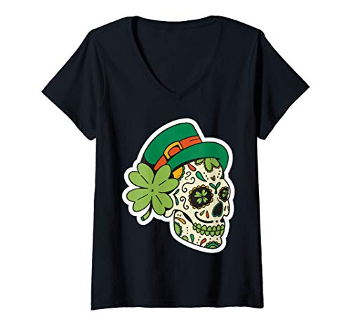 Mujer Traje irlands Sugar Skull Saint Patricks Day of Dead Camiseta Cuello V