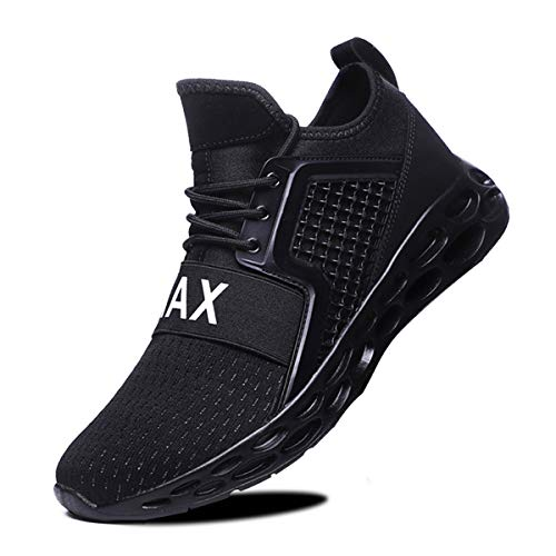 LSGEGO Men Walking Tennis Running Shoes Blade Athletic Shoes Men's Casual Fashion Sneakers Black, 10