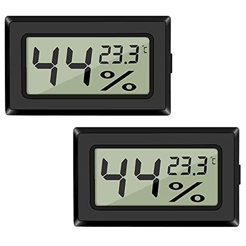 2-Pack LCD Digital Hygrometer Thermometer, Mini Digital Temperaturmesser Feuchtigkeitsmesser für Gewächshaus/Autos/Zuhause/Büro (Schwarz)