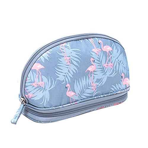 MoGist Trousse de Toilette Sac de Rangement Imperméable Sac de Voyage Maquillage Sac à Main Petit Sac Tissu Oxford Gris Bleu 21 * 9 * 11cm