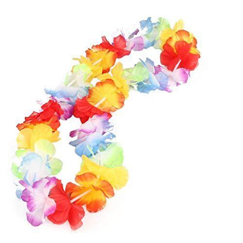 SunnyClover - 12 Collares de Flores Hawaianas Coloridas para el Cuello, Accesorios nicos para Fiestas Hawaianas Luau, Suministros para Fiestas en la Playa