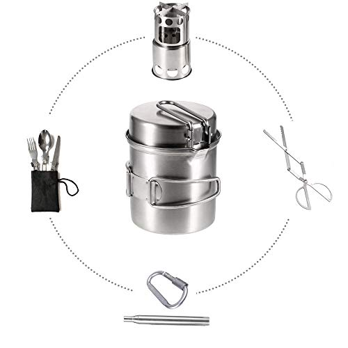 YSCYLY kookgerei pan wandelen koken, houten kachel combo set met servies vuurtang blow tube, picknick camping wandelen rugzakreizen pan kookgerei
