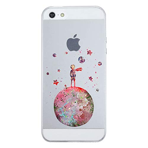 Cover iPhone SE / iPhone 5S/ iPhone 5, Caler Custodia originale arancione trasparente animali disegni gel morbido marmo 3d rigido sottile ultra slim TPU (Piccolo principe)