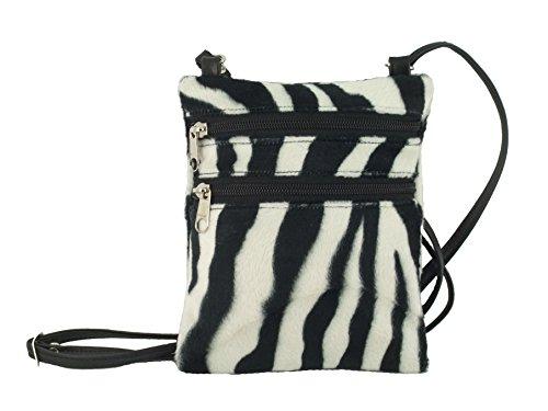 Funky kleine Flache Umhängetasche/Cross-Body Tasche Tier Drucken Velour Tasche Zebra