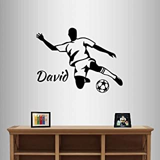 Wall Vinyl Decal Home Decor Art Sticker Soccer Player Kicking Ball Boys Customized Name Kids Bedroom Room Removable Stylish Mural Unique Design