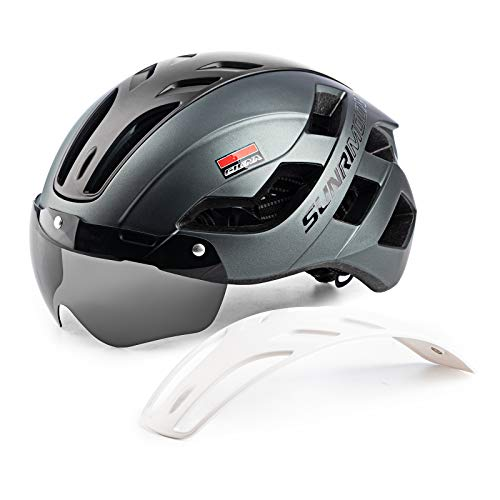 Adult Bike Helmet Men Women - Adjustable Bicycle Helmets with USB Rechargeable Rear Light, Detachable Magnetic Goggles and 3 in 1 Panel for Mountain & Road Riding Ultralight Cycling Helmets