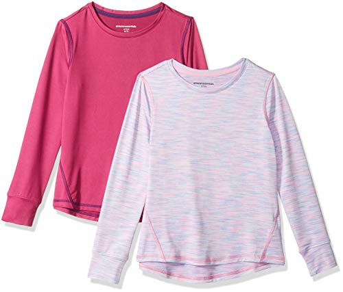 Amazon Essentials Mädchen-Langarmshirt Active, 2er-Pack, Fuchsia/Purple Spacedye, US S (EU 116 CM)