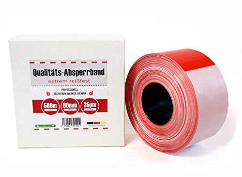 Absperrband 500m Flatterband rot weiß extrem reißfest 80 mm x 35µm Warnband im Karton reissfest Baustellenband Sichern von Gefahrenstellen Absperren für Feuerwehr Polizei Made in Germany