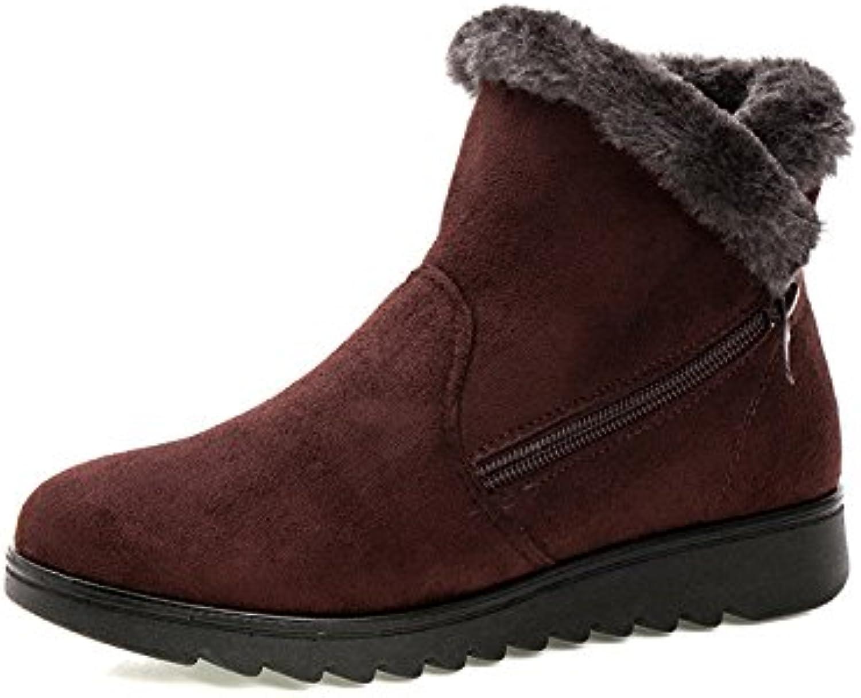 Zipper Women Boots Fur Lined Cotton Ankle Soft Winter Flat shoes (color   Brown, Size   CA 8)